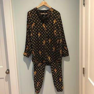 Zara Tiger-Print Blouse/Pant Set